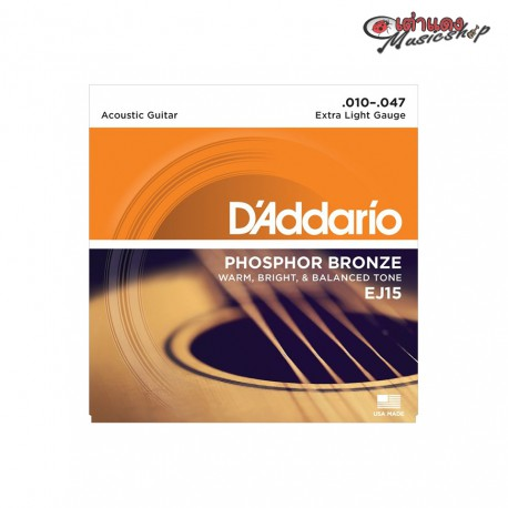 D'Addario EJ15 Phosphor Bronze, Extra Light, 10-47