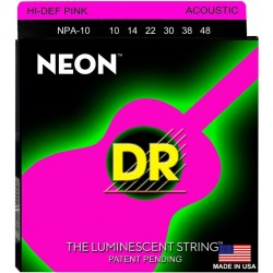DR Strings Coated Nickel Hi-Def Pink Acoustic Guitar Strings 10-46